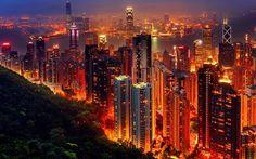 Endless city lights in Hong Kong, China.