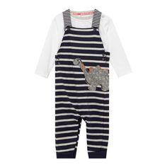 Designer babies navy striped dinosaur dungaree set at debenhams.com £18
