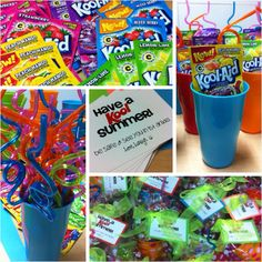 "Have a ""kool"" summer! Koolaid + twisty straw + cup"