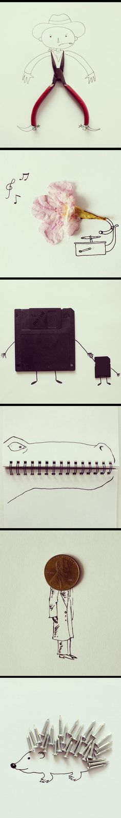 Everyday objects and pen sketches  - funny pictures #funnypictures