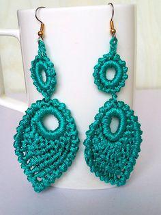 Crochet  Earrings, Teal Aqua Color Earrings, Long Earrings, Elegant Earrings, Eexquisite Earrings, Gothic Earrings, Girl's Gift - Knittee by knittee on Etsy