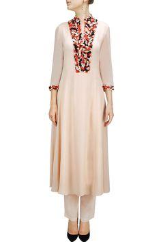 Multicolour bead embroidered kurta set by ILK. Pakistani Dresses, Indian Dresses, Indian Outfits, India Fashion, Ethnic Fashion, Womens Fashion, Kurta Designs, Blouse Designs, Kurta Style