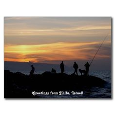 #Haifa #Sunset Postcard - photo I took on the Mediterranean beach showing fishermen leaving for home after an afternoon of fishing.