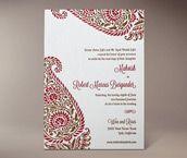 indira letterpress invitation