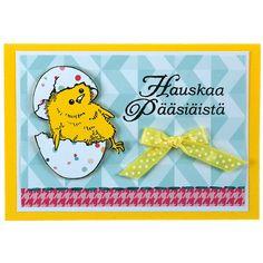 Leimailemalla tehty pääsiäiskortti. Tarvikkeet ja ideat Sinellistä!