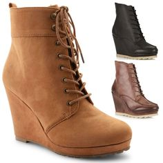 Womens Winter Ankle Boots - Wedge Heel