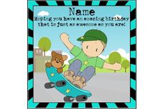 Your place to buy and sell all things handmade Sons Birthday, Birthday Cards, Motivational Gifts, Kids Cards, I Am Happy, Skate, My Etsy Shop, Kawaii, Colours