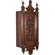 ~ Antique Dutch Renaissance Wall Cabinet for Pipes in Oak with Bronze Portraits ~ rubylane.com