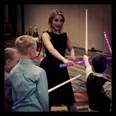 Dianna Agron playing with Jen Tyrell's children back stage at the SF GLAAD Awards