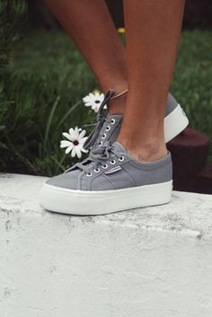 grey platform superga sneakers