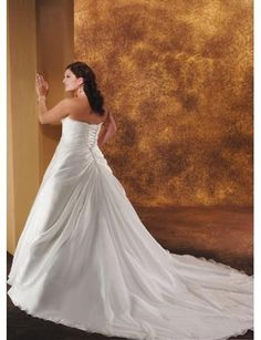 Strapless A line Princess with Rouched Bodice and Semi-cathedral Train Plus Size Wedding Dress