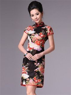 Women's Charmeuse Polyester Knee-length Cheongsam Dress