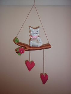 Cat on a twig with hearts nursery baby mobile, decoration