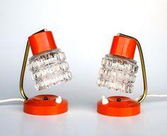Vintage Table Lamp Pair / Orange Desk Lamp / Bedside Lamp / 60's 70's Atomic Space Age Era Retro Lighting