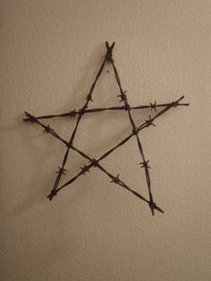 """Christmas tree 12"""" Barbwire star for the top of your tree. by DumpsterDogArt on Etsy"""