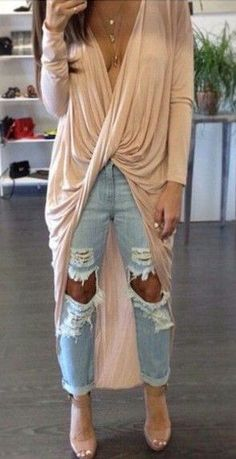 #spring #fashion beige irregular dip hem blouse ripped jeans outfit