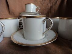 Fitz and Floyd Palais White Demitasse Cup Saucer Set of 12 Made in Japan #FitzandFloyd