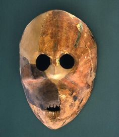 Stone Mask, Nahal Hemar Cave, Israel. Late PPNB (c. 7200-6700). Site served as internal boundary between hunting and agriculture. Finds at the site included basketry, headdresses, mats, knotted/semi-sewn linen, seeds and fruits.