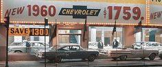 Vintage Trucks 1960 Chevrolet Dealership - Old Car Dealership Sign Chevy Dealerships, Used Car Lots, Chevrolet Dealership, New Car Smell, Car Advertising, Ads, Classic Chevy Trucks, Best Classic Cars, Vintage Trucks
