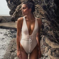 Sexy Bandage One Piece Swimsuit 2018 New Women Swimwear Strappy Monokini Deep V Swimsuit Solid Backless Bathing Suit Beach Wear - Vicky Lim Beauty Swimwear Sale, Kids Swimwear, Women Swimsuits, Suits For Women, Clothes For Women, Swimming Outfit, Girls Bathing Suits, Monokini, Bikini Set