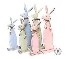 """Dekohase Osterhase """" Rabbit """" Hase Shabby Chic Landhaus Deko Holz Ostern NEU"""