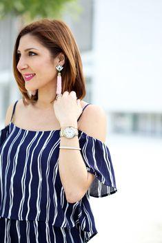 Blame it on Mei Miami Fashion Blogger 2016 Spring Outfit Idea Look Off The Shoulder Romper Stripe Romper Tory Burch Diana Clutch Baublebar Acid Fringe Tassel Earrings Jessica Simpson Strap Morena Sandals