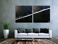 Minimalistisches abstraktes Acrylbild schwarz weiß zwei Teile 100x200cm von xxl-art.de