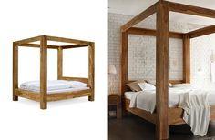 Himmelbett robustus 180x200 Palisander Teak finish massiv Holz honigbraun Möbel…