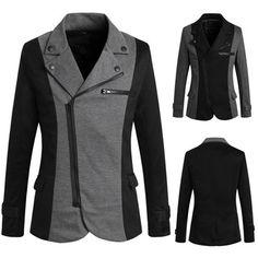 New Fashion Men Cozy Solid Color Long Sleeve Zip Up Pocket Button Coat Lapel Split Joint Coat Size Blazer Jacket, Leather Jacket, Blazer Suit, Jacket Men, Mens Fashion Blazer, Blazers For Men, Cotton Jacket, Mens Outfitters, New Fashion