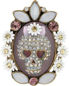 Betsey Johnson Girlie Grunge Skull Cameo Ring