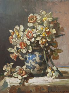 "❀ Blooming Brushwork ❀ - garden and still life flower paintings - John C. Traynor (American, born  1961)  ""Dancing Daffodils"""