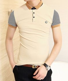 Stylish Color Block Turn-down Collar Stripes Short Sleeves Polyester Polo Shirt For Men