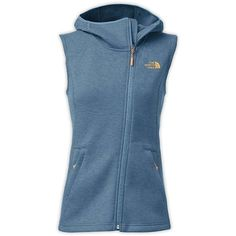 The North Face Women's Haldee Hooded Vest ($99) ❤ liked on Polyvore featuring outerwear, vests, cool blue heather, blue vest, the north face, knit vest, vest waistcoat and zip vest