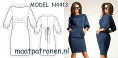 MAATPATRONEN Tricot jurk met zakjes. Dit model is zeer populair daarom kunt u tijdens de bestelling zelf de keuze maken voor welk soort tricotstof uw gewenste patroon wordt gemaakt.  MODEL N4413