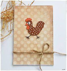misha_cards / Veľkonočná pohľadnica - menší bodkovaný kohútik