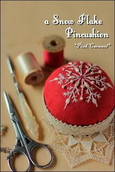 Snow+Flake+Pincushion Pink Caramel