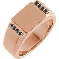 Black Diamond Men's Signet Ring in Rose Gold - DaVinci Emporium Diamond Gemstone, Gemstone Jewelry, Signet Ring, Semi Precious Gemstones, Black Diamond, Fashion Rings, Jewelry Collection, Rings For Men, Rose Gold
