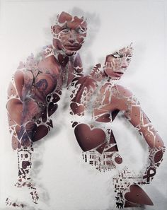 """Posh + Becks"" - by David Adey - Materials/Process: Skin is isolated and extracted from a ""W"" Magazine cover using a variety of craft-punches. The deconstructed image is re-assembled with pins on a foam panel.  Dimensions: 13 x 10 inches  Date: 2007"