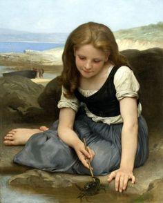 """The Crab"" - Pintura a óleo sobre tela de William Bouguereau"