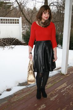 Dressy Valentine Outfit:  Red Top, Black Leather Skirt, Leopard Print Fur Scarf, black tights, black booties and gold handbag