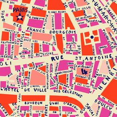 Pink illustrated map