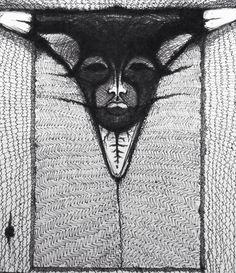 Roneld Lores sketchbook: mask study (ink)