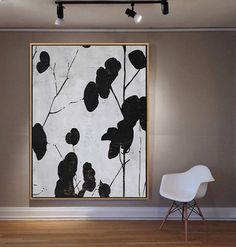 Original Handmade Minimalist Painting by Ethan Hill door EthanHillArt Black And White Painting, White Art, Black White, Mid Century Modern Art, Mid Century Art, Art Prints For Home, Minimalist Painting, Modern Artwork, Living Room Art