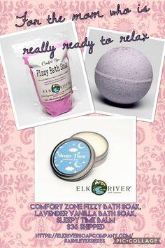 Mothers Day Gift Idea Comfort Zone Fizzy Bath Soak, Lavender and Vanilla Bath Bomb, Sleepy Time Balm From Elk River Soap Company