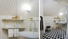 Optimera ytan i vindsbadrummet. Här med klassiskt schackrutigt golv och en BASIC Ramona duschvägg från INR.