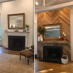 Herringbone Fireplace, Fireplace Accent Walls, Wood Fireplace Surrounds, Reclaimed Wood Fireplace, Brick Fireplace Makeover, Shiplap Fireplace, Old Fireplace, Fireplace Remodel, Living Room With Fireplace