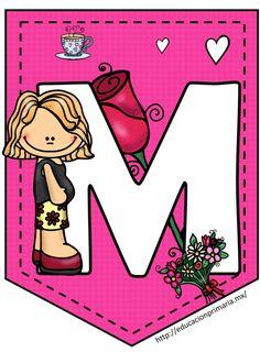 Maravillosos y lindos banderines del día de las madres | Material Educativo Capital Alphabet, Cute Alphabet, Spanish Alphabet, English Classes For Kids, School Frame, Letters For Kids, Letter Of The Week, Pocket Scrapbooking, Police