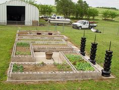 Ok, this is kind of cute. and it would be easy. rail road ties for raised beds - cinder blocks release a bad chemical. You have to use unteated railroad ties.