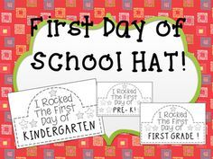 This freebie gives a cute little hat students can make at the end of their first day of school (Pre-K, Kindergarten, and First Grade included)