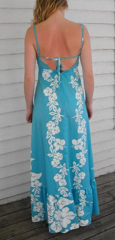Vintage Blue Print Hawaiian Dress Hawaii Maxi Tropical by soulrust
